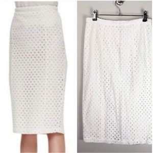 Joie White Eyelet Pencil Skirt Slim Fit Cotton 61